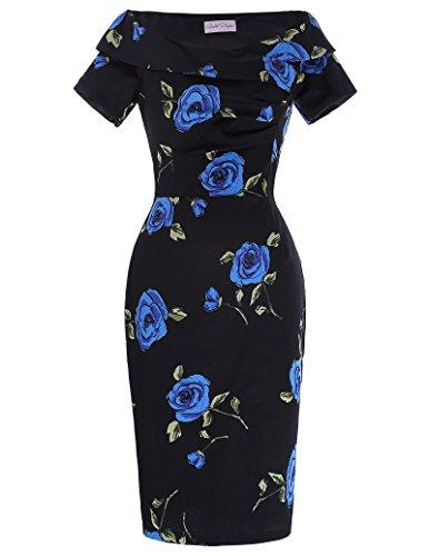 Dames impression Bleu tissu fleurs épaule col V Robe en coton Vintage BP000117-2_USA6