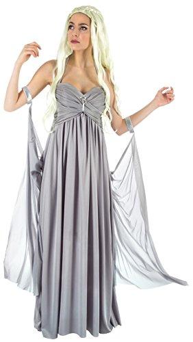 Mutter der Drachen Damen Hochzeitskleid Kostüm für Game of Thrones Daenerys Fans grau - S