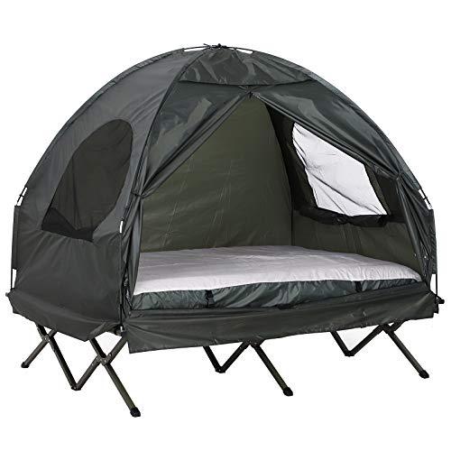 Outsunny Set da Campeggio Tenda Letto 2 Persone Materasso Gonfiabile con Borsa per Il Trasporto, Polietilene, Verde