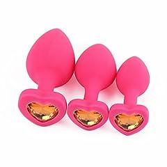 Idea Regalo - Massaggiatore Sesso Personale,Kword 1 Set/3Pcs A Forma di Cuore Rosa Anale Posteriore Plug in Silicone, Gioielli di Nascita Stone Butt-Anale-Play,Rose Giochi di Sesso Gioiello (Oro)