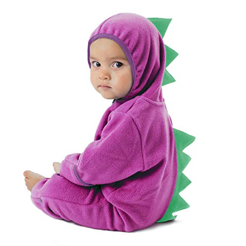 Funzies Fleece leichte Jacke - Winter Pyjama Oberbekleidung für Baby 3-6 monate Dino lila/grün