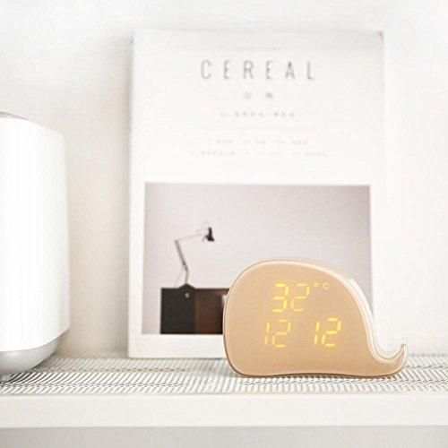 OOLIFENG Wal-Form Wecker LED Datum Temperatur Magnetische Adsorption für Kinder Zimmer Tabelle Uhren , twilight (Am Besten Am Radio)