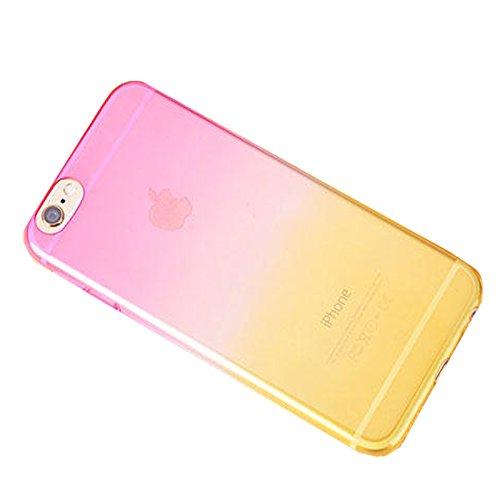 Apple iPhone 6S plus (5.5 Zoll) Hülle, koala group/ Einfache Gradienten dünnen TPU Schutzmaßnahmen weichen HülleSchlank war dünn durchscheinend Hülle-----Himmel blau und gelb Pink and yellow