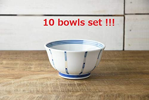 Yamani Pottery B1901005 Lot de 10 Bols à Riz Japonais Motif Japonais Mino Yaki