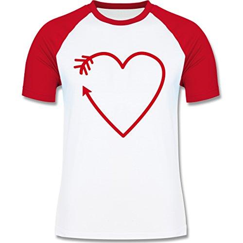Romantisch - Herz Pfeil - zweifarbiges Baseballshirt für Männer Weiß/Rot
