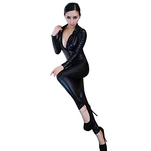Chnli Sexy PU Leather Zipper Front Catsuit Lingerie Outfit Clubwear Zip Up Black Fancy Dress Costume