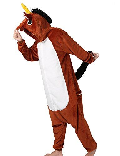 Pigiama Animale Unicorn Unisex Jumpsuit Traspirante Animal Sleepwear AdultoHalloween Cosplay Party - mescara (S (Altezza 148-160CM), Marrone)