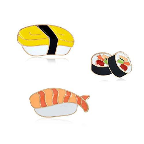 Pins Karikatur japanische Sushi Brosche Set-Taste Pin Jeansjacke Rucksack T-Shirt-Kragen-Revers Pin ()