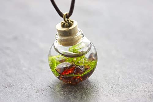 Fall 1 Licht Anhänger (Unterwasserwelt Moos Granat echte Wasserpflanze Kette)