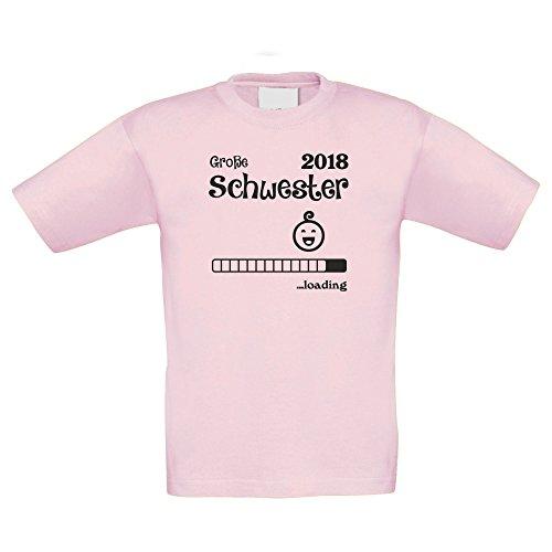 Kinder T-Shirt - Große Schwester 2018 .Loading - von Shirt Department, 98-104, rosa-schwarz