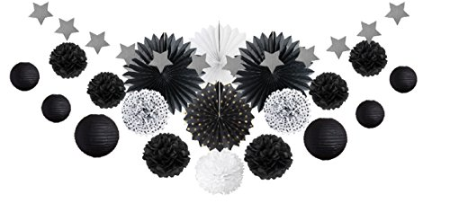 SUNBEAUTY Schwarz Party Dekoration Kit Lampion Pompoms Sterngirlande (Schwarz)