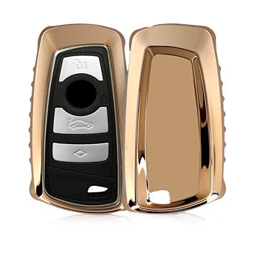 kwmobile Autoschlüssel Hülle für BMW - TPU Schutzhülle Schlüsselhülle Cover für BMW 3-Tasten Funk Autoschlüssel (nur Keyless Go) Hochglanz Gold