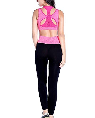 Ensemble de soutien-gorge de sport pour femmes Vêtements de yoga, tenues de course à pied et pantalons Tenues de gymnastique pour l'exercice (Ensemble de 2 pièces et leggings) rose rouge