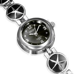 Fashion Alloy Silver-Tone Black Round Dial Womens Bracelet Watch