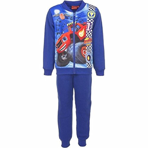 Licenza ufficiale boys blaze and the monster machine, foderato in pile tuta trackpant età da 3 a 8 anni blu blue blaze