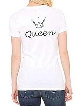 ZKOO Camisetas de Parejas King and Queen Corona Impresión de Camisetas de Manga Corta Hombre y Mujer Tops Camisas...