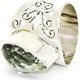 Sterling Silver Ring Green Cut Amethyst Sterling Gemstone Ring Olivia 925 Silver