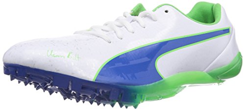Puma  Bolt EvoSPEED Electric v2, Chaussures de course pour homme Blanc - Weiß (01 white-strong blue-fluo green)