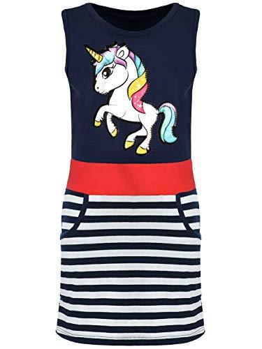 Kmisso Mädchen-Kleid Sommer-Kleid Kinder Kleid-er Ärmellos Einhorn LED Lichteffekt 30050 Blau 152