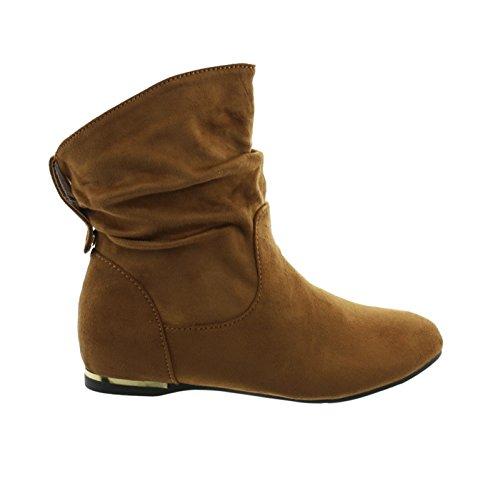 Damen Stiefeletten Cowboy Western Stiefel Boots Flache Schlupfstiefel Schuhe 71 (38, Camel) (Stiefel Flache Camel Damen)