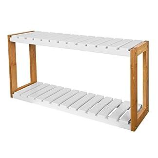 41LJBgiakIL. SS324  - SoBuy® FRG27-WN,Estantería de Pared, estantería de baño, librería, estantería de Cocina de bambú, Color: Natural/Blanco