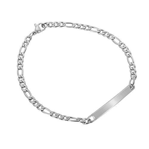HooAMI Bracelet Chaîne Homme Femme Gravure Personnalisé Prénom De Famille Amoureux Amis Cadeau Unique Pour Fête Anniversaire Mariage Avec Service De Gravure Gratuit