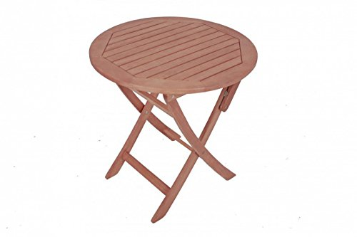 Table ronde pliante de jardin en bois d'eucalyptus fSC huilé
