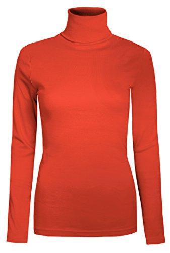 Damen Rollkragen-Pullover, ausschließlich von Brody & coâ ®, Unifarben, für den Winter und Skifahren, Stretch-Qualität, Jersey Baumwolle Gr. L, korallenrot