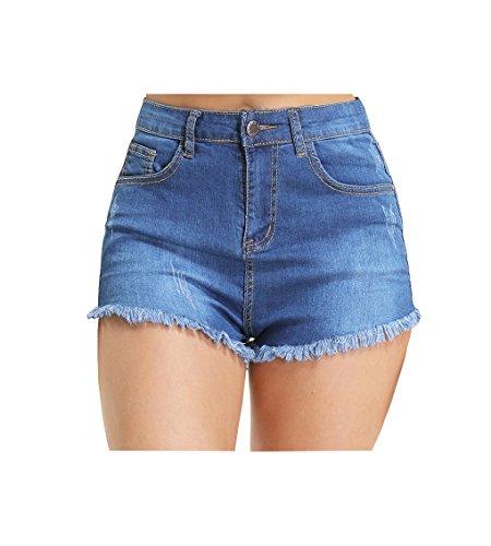 Hocaies Damen Jeansshorts Basic in Aged-Waschung Jeans Bermuda-Shorts Kurze Hosen aus Denim für den Damen Sommer High Waist Denim Kurze Hose mit Quaste Ripped Loch Hotpants Shorts (42, 02 Hell blau)