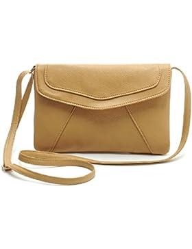 Damen Umhängetasche Kunstleder Handtasche Einstellbar Band Handbag wie Ein Umschlag - Ularmo