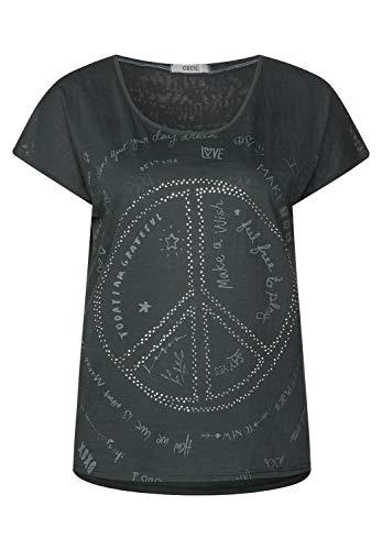 Cecil Damen Shirt mit Peace Zeichen Slate Green XXL