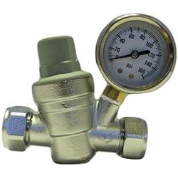 Hercules - Válvula reductora de presión de agua y medidor (latón cromado, 15 y 22 mm)