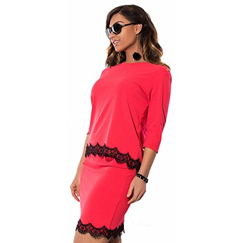 DD UP Femme Tunique Lâce Mini Dress Robe jupe red