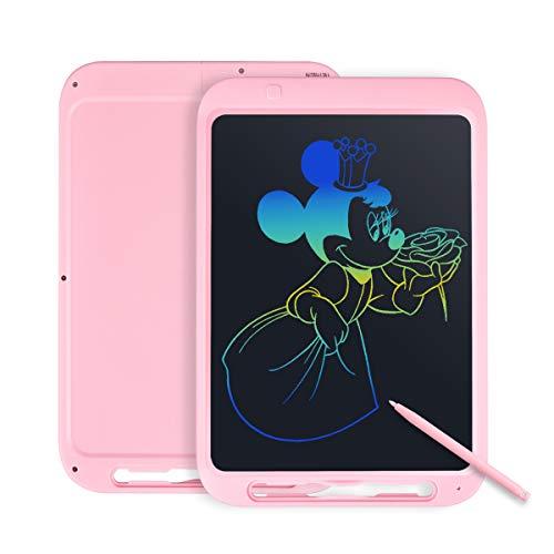 Tyhbelle Bunte LCD Schreibtafel,12 Zoll LCD Writing Tablet mit Anti-Clearance Funktion und Stift, Digital Ewriter Grafiktabletts Elektronisches Zeichenbrett papierlos für Schreiben (Pink +Bunt)