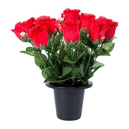 Homescapes Künstliches Grabgesteck Rosen und Rosenknospen, rot