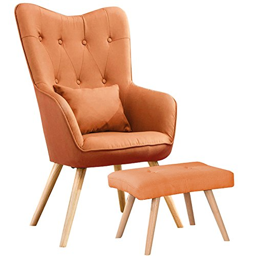 WarmieHomy Modern Occasional Chair Buttoned Linen Fabric Accent Chair with Footstool for Bedroom Living Room Office Lounge Reception (Orange)