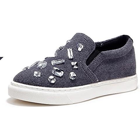 Autunno strass piattaforma scarpe/ donne scarpe a punta/Le Fu, scarpe con la suola spessa/ scarpe (Grigio Suede Piattaforma)