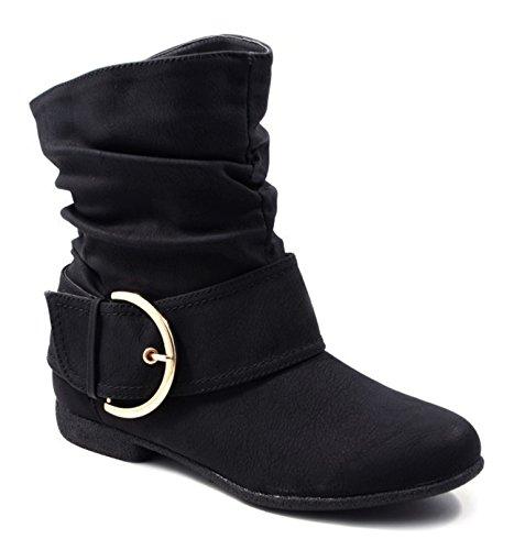 Damen Stiefeletten Cowboy Western Stiefel Boots Flache Schlupfstiefel Schuhe 3VA Schwarz