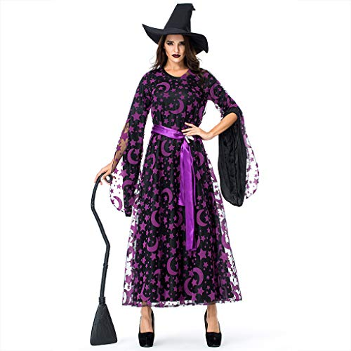 Daygeve Cosplay Fantasy Gothic Kopfbügel Kostüm Retro Party Princess Renaissance Kleider Rock,Mode Frauen Halloween Cosplay Party Star Magie Hexe Hexe Vintage - Gothic Rock Star Kostüm