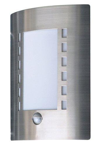 Smartwares 5000.086 Messina Luz de pared, Luz exterior, Acero inoxidable, Sensor de movimiento, IP44