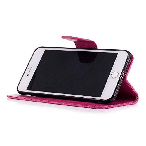 Crisant 3D Kettensägen-Bär Drucken Design schutzhülle für Apple iPhone 7 Plus 5.5'',PU Leder Wallet Handytasche Flip Case Cover Etui Schutz Tasche mit Integrierten Card Kartensteckplätzen und Ständer  Rose