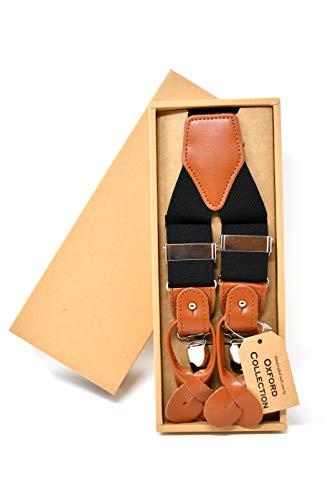 Oxford Collection Hochwertige Schwarze Hosenträger Einstellbar - 3 Clips oder 6 Knöpfen (anpassbare) - Y Form - Klassisch, Elegant und Modern -