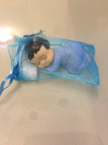 10 x Gastgeschenk Organzasäckchen Taufe Feste Tischdekoration Junge blau Baby mit Kissen