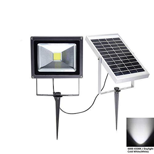 W-LITE LED Solarleuchte, 20W Solarlampe für Außen, Solar Strahler Aufladbar, Solar-Licht Kaltweiß/Tageweiß Wasserdicht für Garten, Hof, Außen