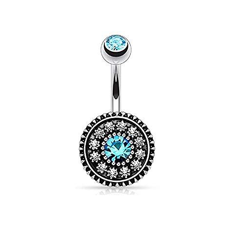 KFYU Piercing Schmuckscheibe mit Diamant Blume Bauchnabelpiercing Bauchnabel Double Color Nabel Double Diamond Lake Blue