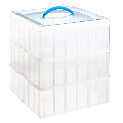 Snapware Snap and Stack Aufbewahrungsbehälter aus Kunststoff 30,5x30,5cm, 3-Etagen, quadratisch, transparent (Snap-lock-kunststoff-behälter)