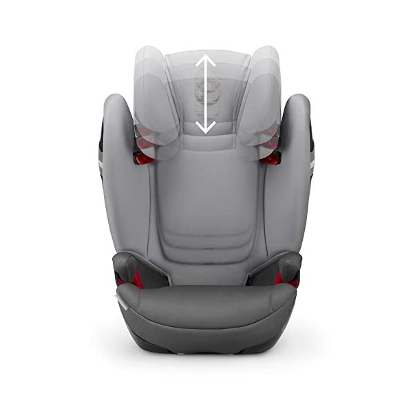 CYBEX Gold Solution S-Fix Child's Car Seat, For Cars with and without ISOFIX, Group 2/3 (15-36 kg), From approx. 3 to approx. 12 years, Lavastone Black  Group 2/3 high back booster seat. suitable from 15 - 36kg. designed to be used until a maximum height of 150cm, approximately 12 years. 3-position optimized reclining headrest prevents the child's head from tipping forwards, and integrated ventilation system keeps them cool. The integrated lisp. system offers increased safety in the event of a side-impact collision by reducing the forces by approximately 25%. 4