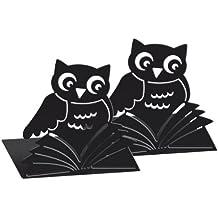 Moses 81399 libri_x Buchstützen Büchereule (2er-Set, aus Metall) Zwei schwarze Metall-Buchstützen im Set Buchstützen-Set mit wunderschön ausgestanzten Bücher-Eulen schwarz