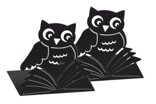 Moses 81399 Lot de 2 serre-livres libri_x en métal en forme de chouettes (Noir) (Import Royaume Uni)