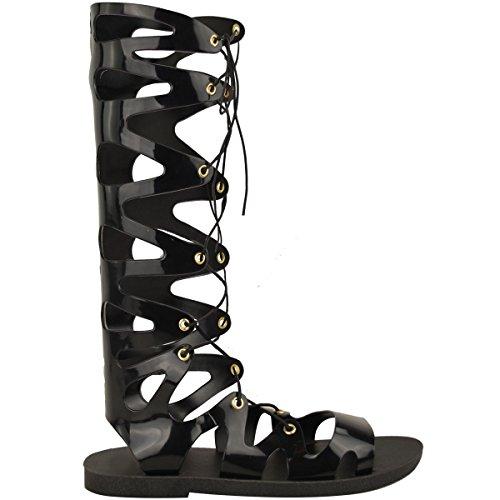 donna al ginocchio con lacci Jelly Sandali gladiatore basse scarpe estive Taglia Nero